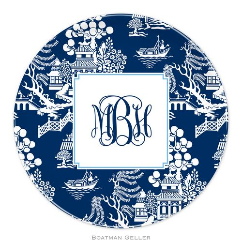 Personalized Melamine Chinoiserie Navy Plate from Boatman Geller
