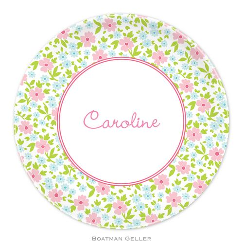 Personalized Melamine Emma Floral Pink Plate from Boatman Geller