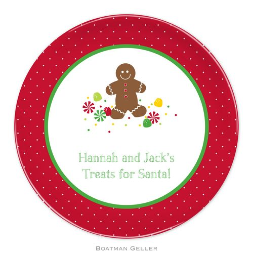 Personalized Melamine Gingerbread Holiday Plate from Boatman Geller
