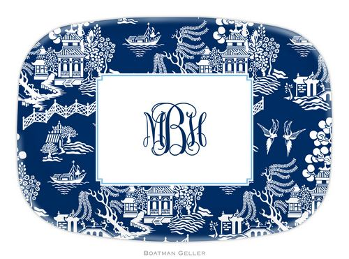 Personalized Melamine Chinoiserie Navy Platter from Boatman Geller
