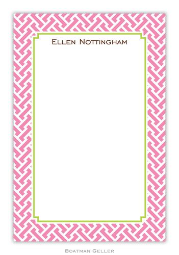 Stella Pink Personalized Notepads and Note Sheets from Boatman Geller