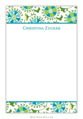 Suzani Teal Personalized Notepads and Note Sheets from Boatman Geller