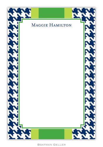 Alex Houndstooth Navy Personalized Notepads and Note Sheets from Boatman Geller