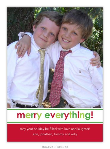Merry Everything Holiday 1-Photo Card from Boatman Geller
