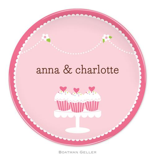 Personalized Melamine Heart Cupcakes Plate from Boatman Geller