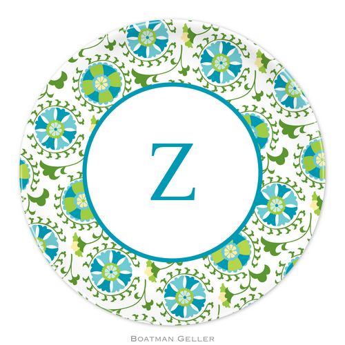 Personalized Melamine Suzani Teal Plate from Boatman Geller