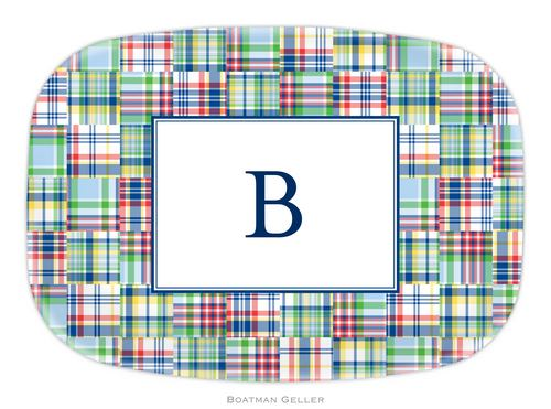 Personalized Melamine Madras Blue Platter from Boatman Geller
