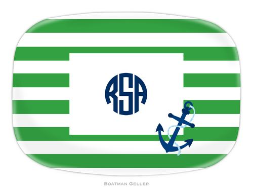 Personalized Melamine Stripe Anchor Platter from Boatman Geller