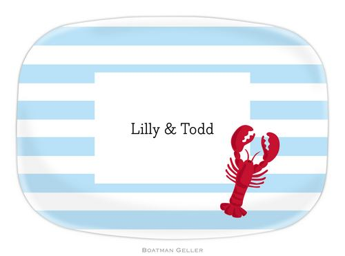 Personalized Melamine Stripe Lobster Platter from Boatman Geller