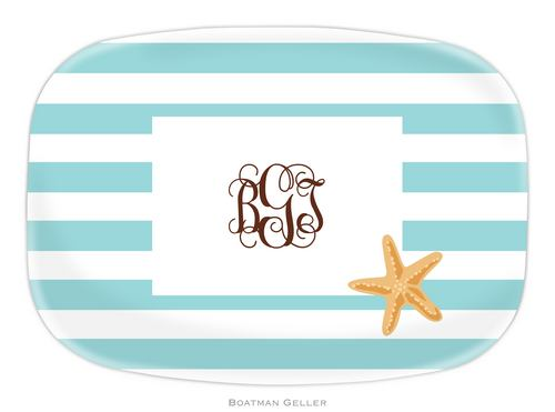Personalized Melamine Stripe Starfish Platter from Boatman Geller