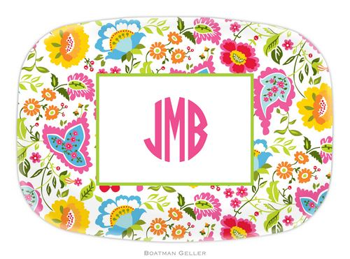 Personalized Melamine Bright Floral Platter from Boatman Geller