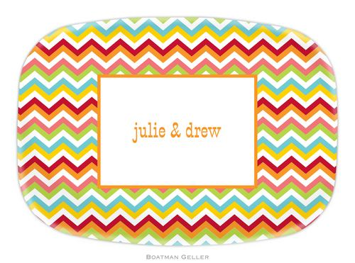 Personalized Melamine Chevron Bright Platter from Boatman Geller
