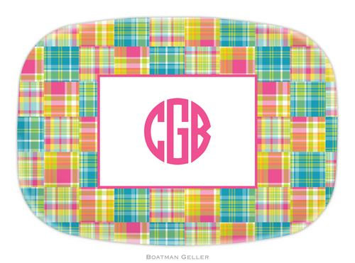 Personalized Melamine Madras Plaid Bright Platter from Boatman Geller