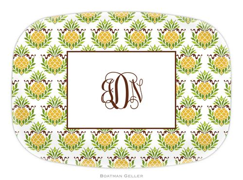 Personalized Melamine Pineapple Repeat Platter from Boatman Geller