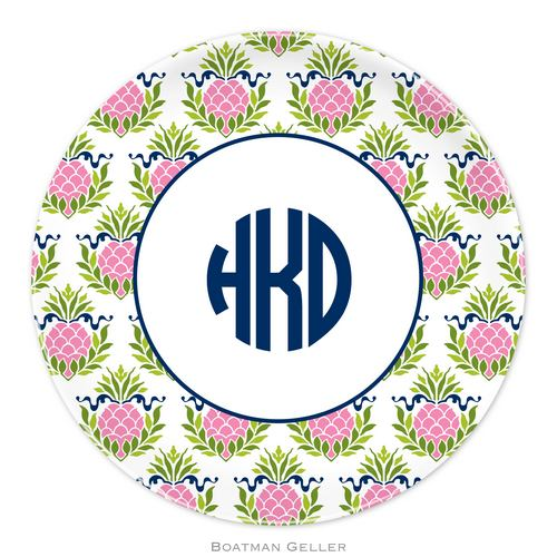 Personalized Melamine Pineapple Repeat Pink Plate from Boatman Geller