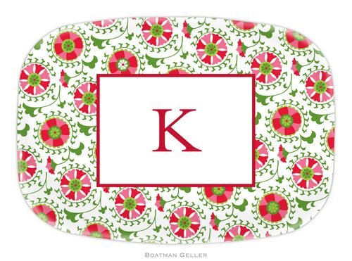 Personalized Melamine Suzani Holiday Platter from Boatman Geller