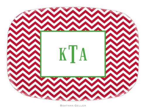 Personalized Melamine Chevron Red Holiday Platter from Boatman Geller