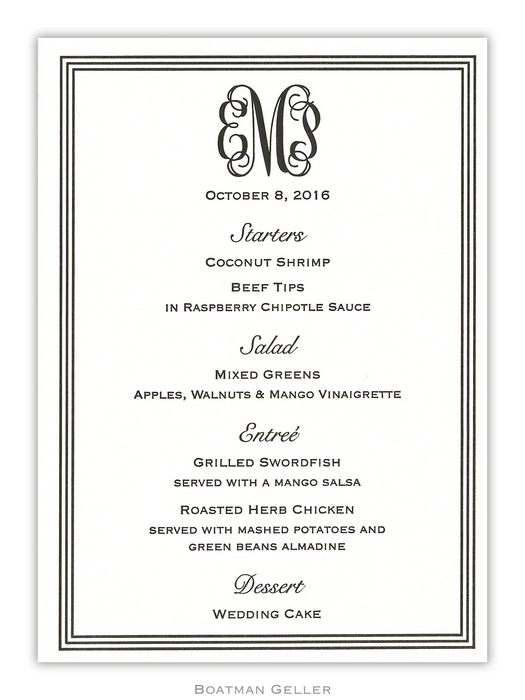 Letterpress Grand Border Menu Card from Boatman Geller