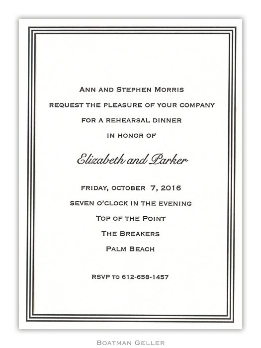 Letterpress Grand Border Medium Flat Invitation from Boatman Geller
