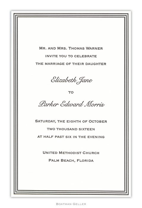 Letterpress Grand Border Large Flat Invitation from Boatman Geller