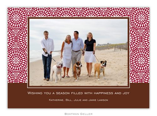 Bursts Cranberry Holiday 1-Photo Card from Boatman Geller