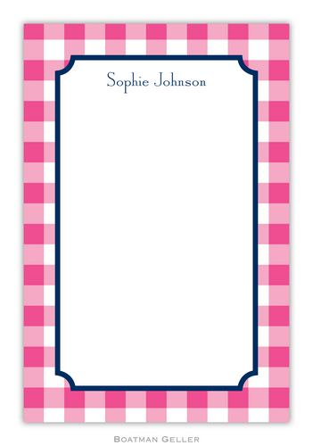Classic Check Personalized Notepads and Note Sheets from Boatman Geller
