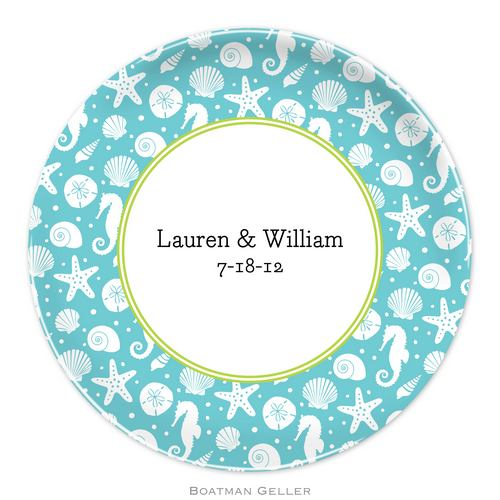 Personalized Melamine Jetties Teal Plate from Boatman Geller