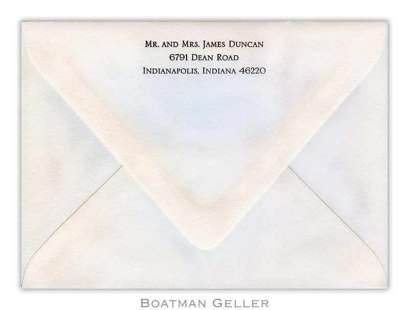 Return Address on Letterpress Envelopes from Boatman Geller