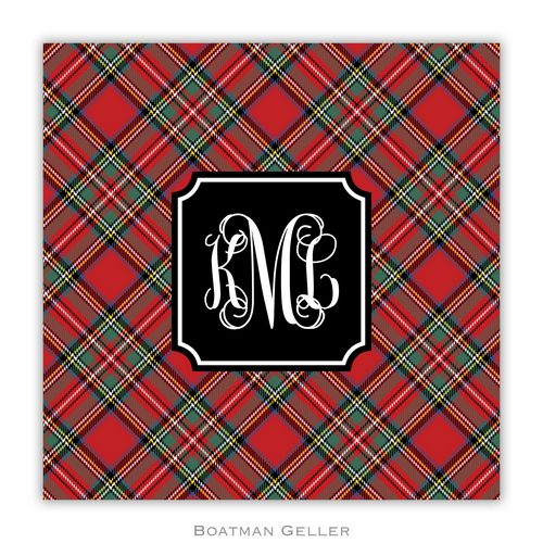 Personalized Red Plaid Holiday Paper Coasters from Boatman Geller