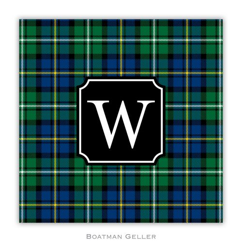 Personalized Black Watch Plaid Holiday Paper Coasters from Boatman Geller