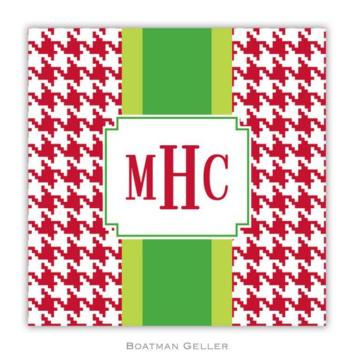 Personalized Alex Houndstooth Red Holiday Paper Coasters from Boatman Geller