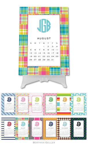Personalized Preppy Desk Calendar from Boatman Geller