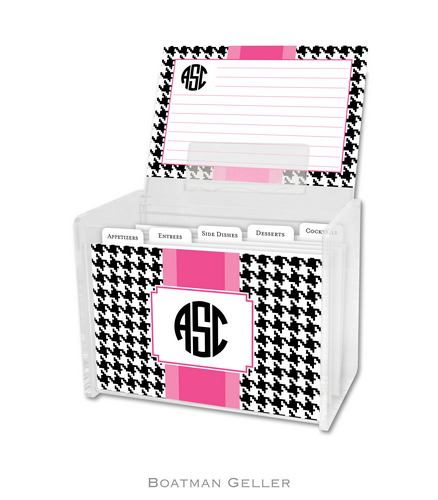 Alex Houndstooth Black Personalized Lucite Recipe Boxes from Boatman Geller