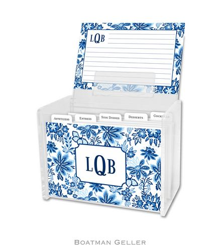 Classic Floral Blue Personalized Lucite Recipe Boxes from Boatman Geller