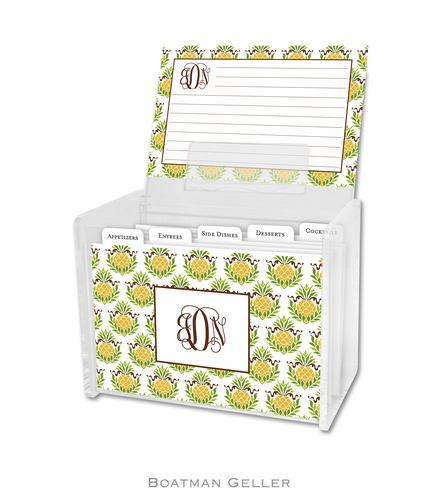Pineapple Repeat Personalized Lucite Recipe Boxes from Boatman Geller