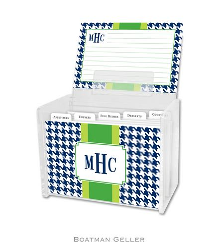 Alex Houndstooth Navy Personalized Lucite Recipe Boxes from Boatman Geller