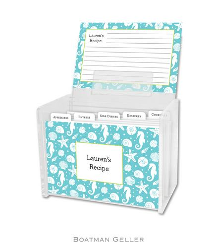 Jetties Teal Personalized Lucite Recipe Boxes from Boatman Geller