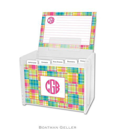 Madras Patch Bright Personalized Lucite Recipe Boxes from Boatman Geller
