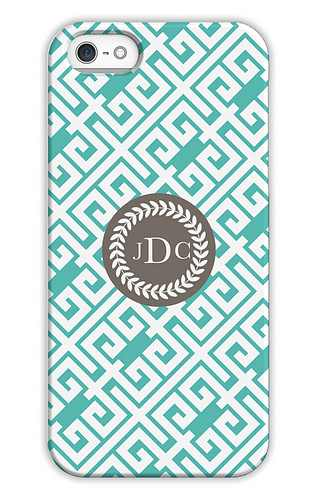 Greek Key Aqua Sky Personalized Tech Cases for iPhone, iPad, iPod and Samsung by Whitney English