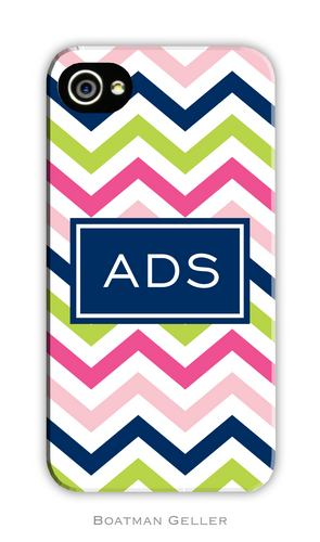 Chevron Pink, Navy & Lime Personalized Boatman Geller Hard Cell Phone and Tech Case