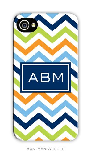Chevron Blue, Orange & Lime Personalized Boatman Geller Hard Cell Phone and Tech Cases