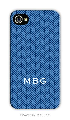 Herringbone Blue Personalized Boatman Geller Hard Cell Phone and Tech Cases