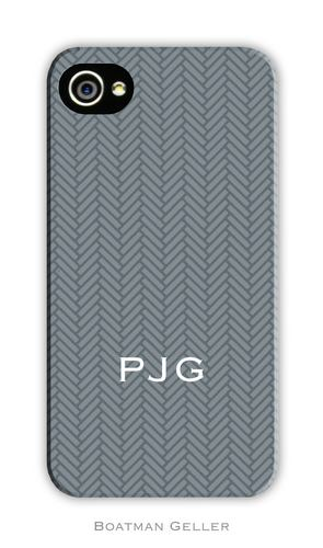 Herringbone Gray Personalized Boatman Geller Hard Cell Phone and Tech Cases
