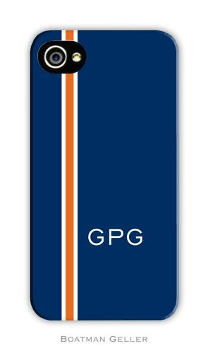 Racing Stripe Navy & Orange Personalized Boatman Geller Hard Cell Phone and Tech Cases