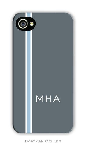 Racing Stripe Charcoal & Light Blue Personalized Boatman Geller Hard Cell  Phone and Tech Cases
