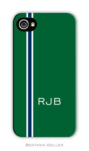 Racing Stripe Hunter & Navy Personalized Boatman Geller Hard Cell Phone and Tech Cases