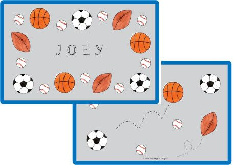 Sports Fan Placemat from Kelly Hughes Designs