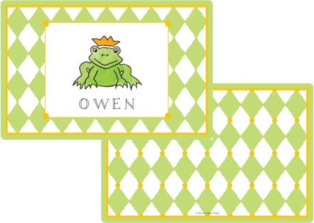 Frog Prince Placemat from Kelly Hughes Designs
