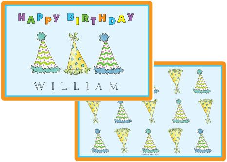 Party Hats Placemat from Kelly Hughes Designs