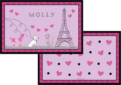 Poodles in Paris Placemat from Kelly Hughes Designs